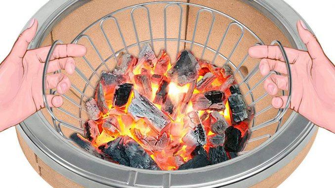Kohlekorb auf Holzkohle