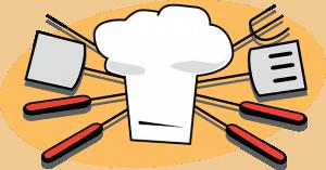 Klassisches Grillsymbol mit Kochmütze
