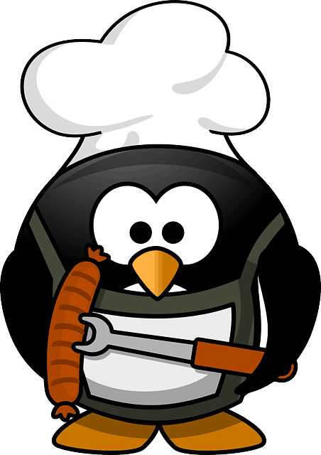 Pinguin mit Wurst als Grillmotiv
